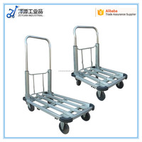 foldable aluminium hand push cart with extensive handle and deck for export