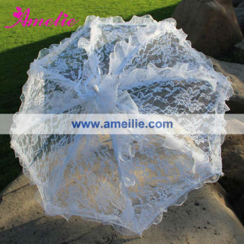 A0201 48cm White Pink Color Wholesale Cheap Lace Wedding Parasol Umbrella