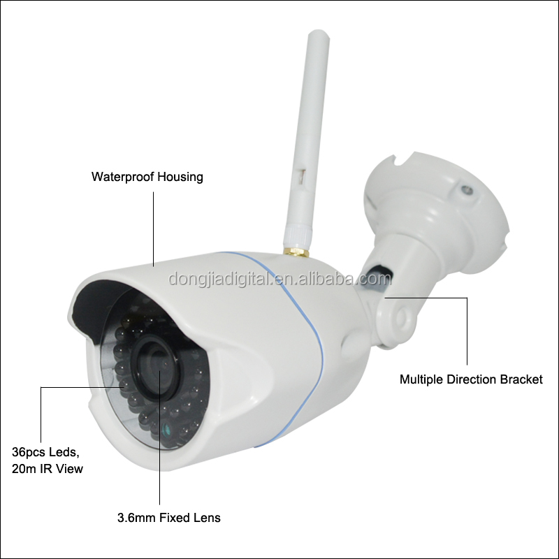 DONGJIA 20m Night Vision WIFI Bullet Outdoor 720P HD Wireless IP Camera