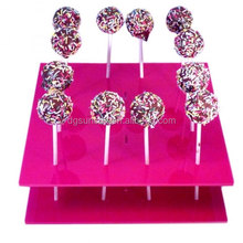 Square Solid Pink Acrylic Cake Pop Stand - 2 Sizes Available