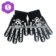 Custom skeleton fashion baby mitten hand gloves acrylic colored 2014 trend hot sale warm gloves