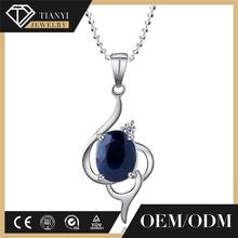 925 Sterling Silver natural Blue Sapphire Pendant Necklace