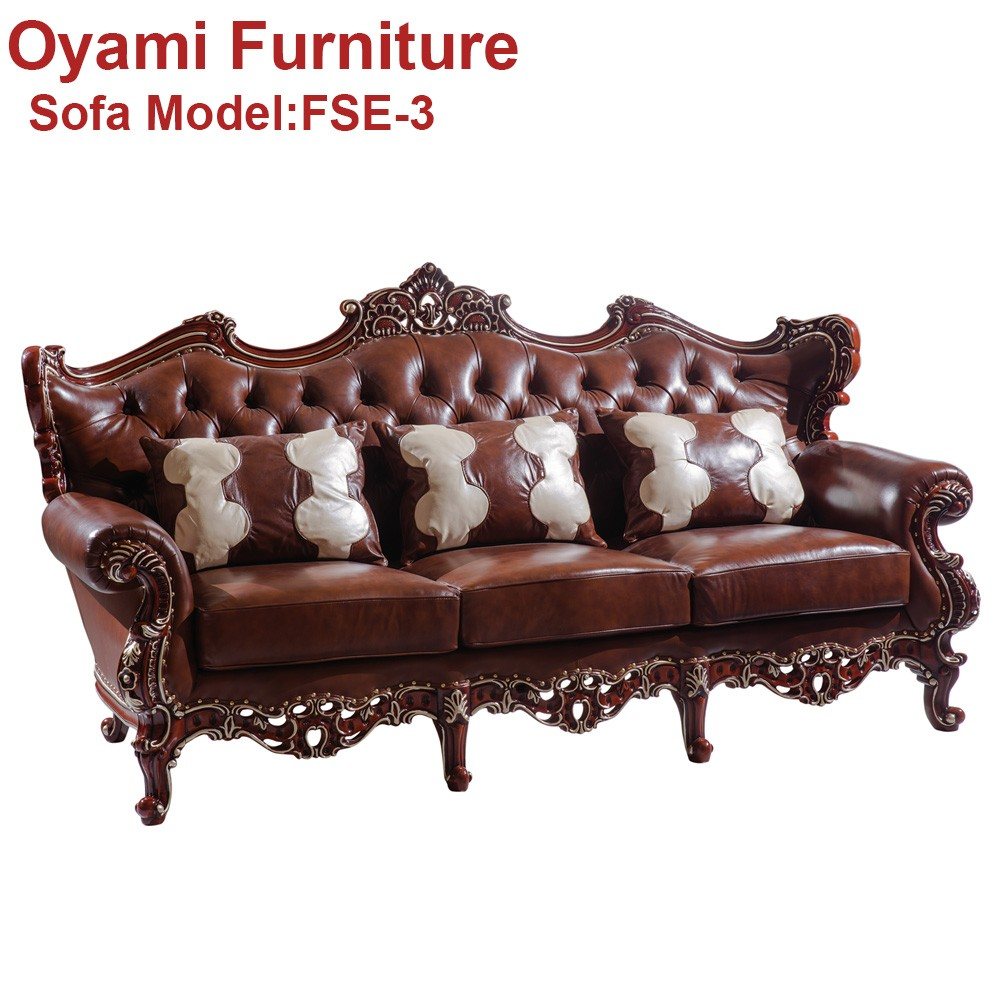 Popular and elegant wooden modern euro design leather sofa