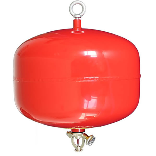 Red ceiling mounted automatic fire extinguisher