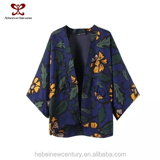2015 Europe America women's dress new fashion coat sakura printing kimono coat loosecasual gril's dress