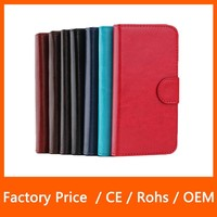 2015 Hot Selling Crazy Horse Stand Flip with Card Slot Top PU Leather Case for iPhone 5 5S