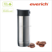 2014 new style 350ml double wall stainless steel vacuum insulated travel coffee mug with side push button lid