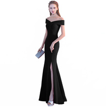 Mermaid Evening Gowns Black Prom Dress Sexy Side Split Long Evening Dresses