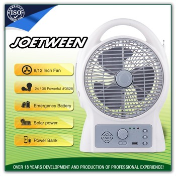 Professional 12 volt ac/dc operated akari rechargeable table fans light with fm/am radio