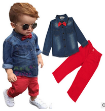 2017 western style boy clothing sets kids clotes with denim shirt and red pants