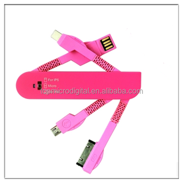 3in1 use light and small knife USB cable for travel and power bank use conveniently