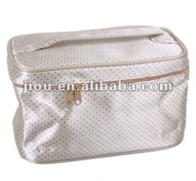 With dots printing Satin material lining cosmetic bags