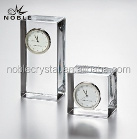 Blank Clear Glass Cube K9 Crystal Desk Clock For Souvenir Gift.