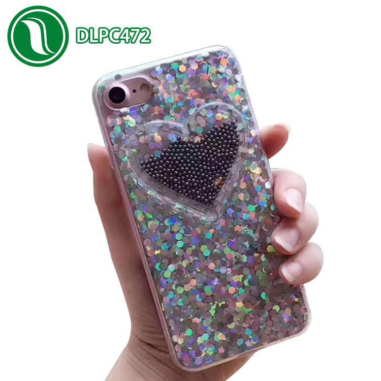 Creative laser glitter love mobile beads drip cell phone case tpu material crystal bling phone case for iphone 7