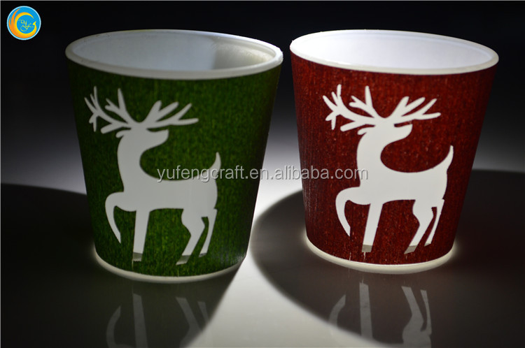 Xmas wood deer glass votive holders