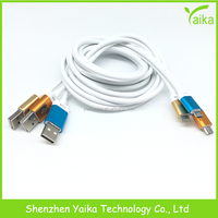 Yaika factory aluminum white metal usb cable for Samsung android mobile phone accessories
