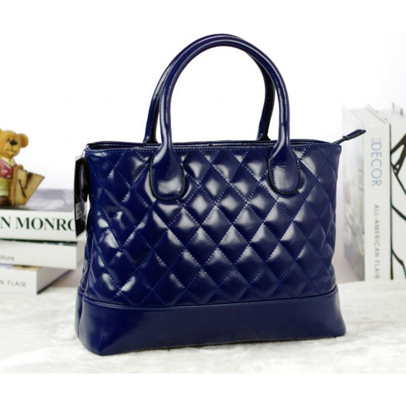 Women Totes Bag New Design Fashion Genuine Calfskin Leather Bag Blue Pure Color Women Handbags Shoulder Bags LD1005