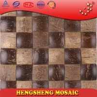 Chinese Foshan Coconut Shell Natural Raw Color Decoration Wall Mosaic stone art design pattern