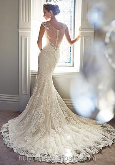 romantic designs deep v neck strap bride wedding dress