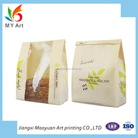 Hot sale bread paper bag custom beautiful clear window packaging food bag