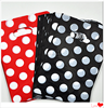 Cheap printed shopping bags, black polka dot plastic bag, red polka dot gift bag