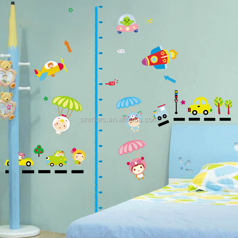 children growth height chart wall sticker pvc removable kids wall