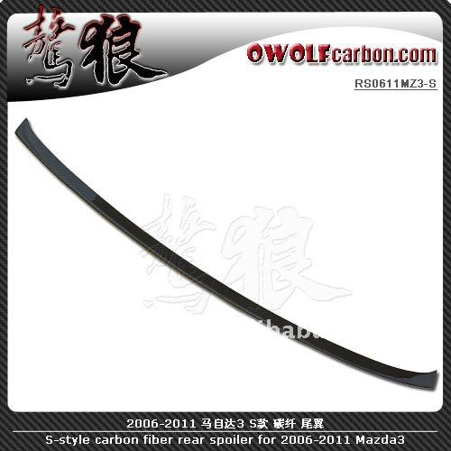 S-style carbon fiber rear spoiler for 2006-2011 Mazda 3 Mazda3 M3