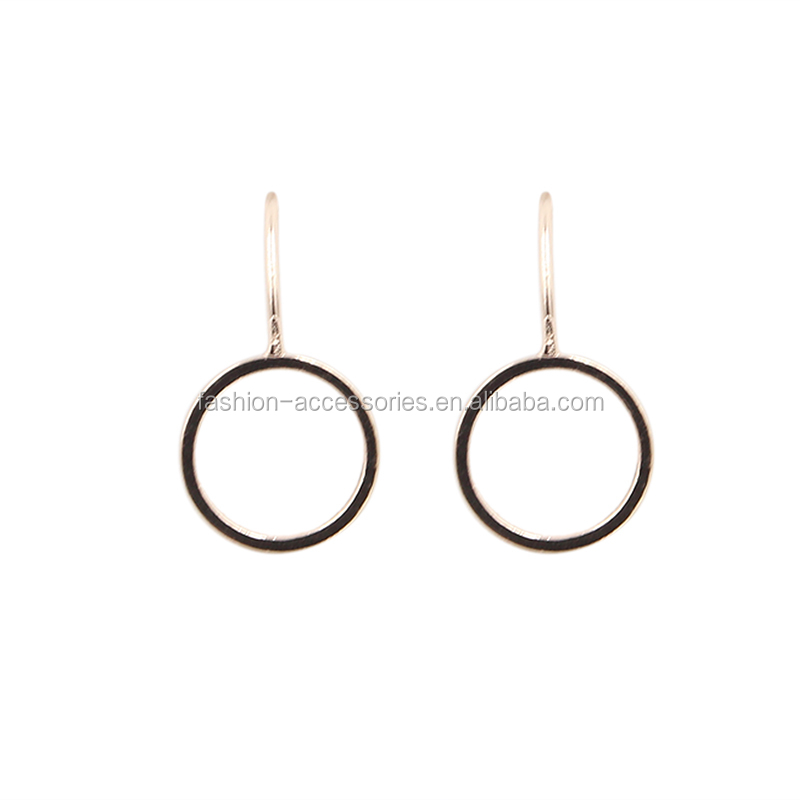Fashion Cheap Daily Wear Women Gold Designs New Model For Girls Simple Small Circle Round Metal Drop Dangle Earrings