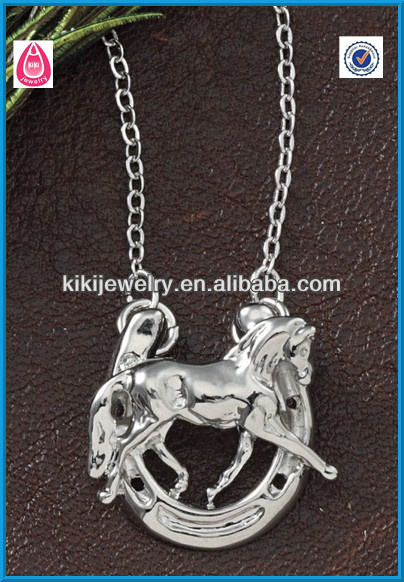 horse with horseshoe pendant necklace jewelry