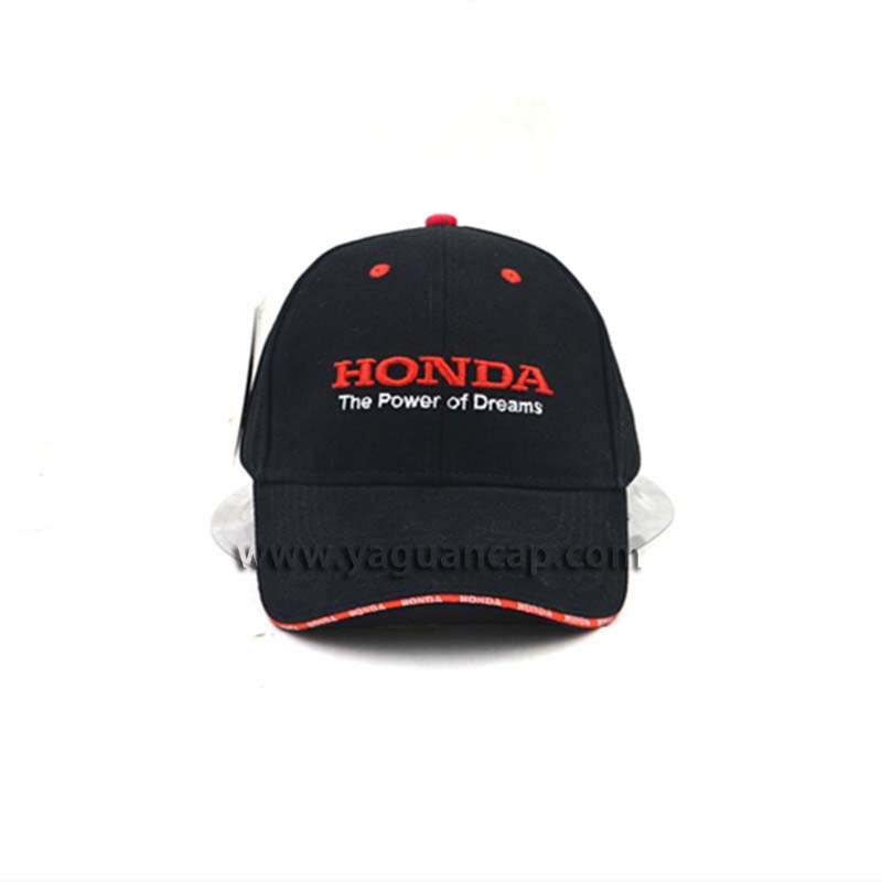 fashion baseball cap with strapped sandwich 3D embroidery red eyelets silver buckle