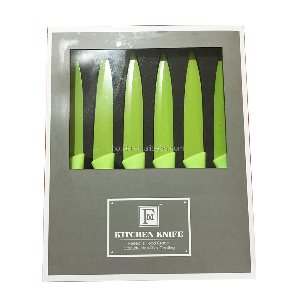 high quality stainless steel fruit kitchen knife set in suitcase