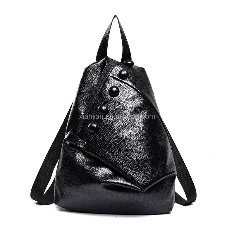 2016 Ladies PU Leather Preppy Vintage Button Backpack (XJBP19)