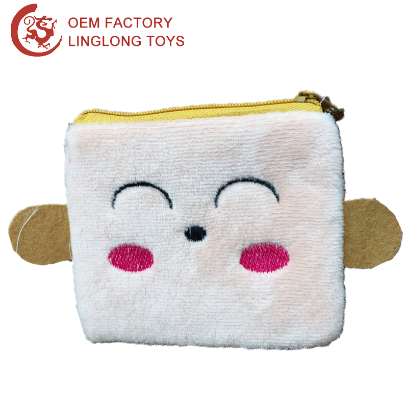 Felt Ears Square Coin Purse Bag Keychain Monkey Face Pocket Coin Purse Monkey Plush Change Purse Wallet With Zipper