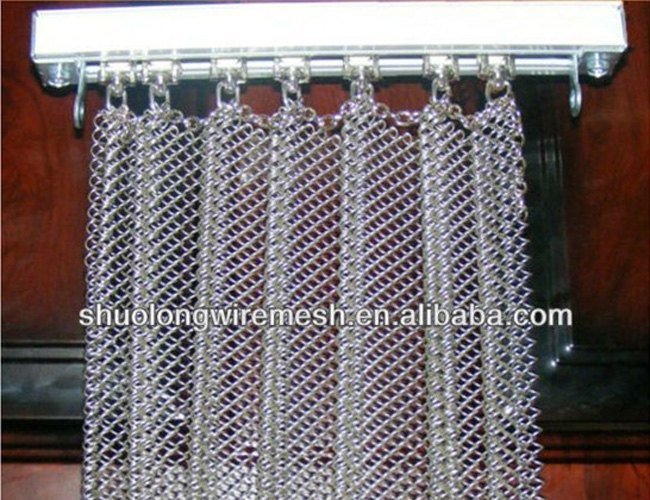 Decorative architectural chain link curtain mesh metal beads hanging chain curtain architectural