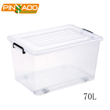 70L Factory Sales clear square plastic container with handle