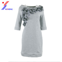 OEM half sleeve applique casual dress dresses girls women ladies