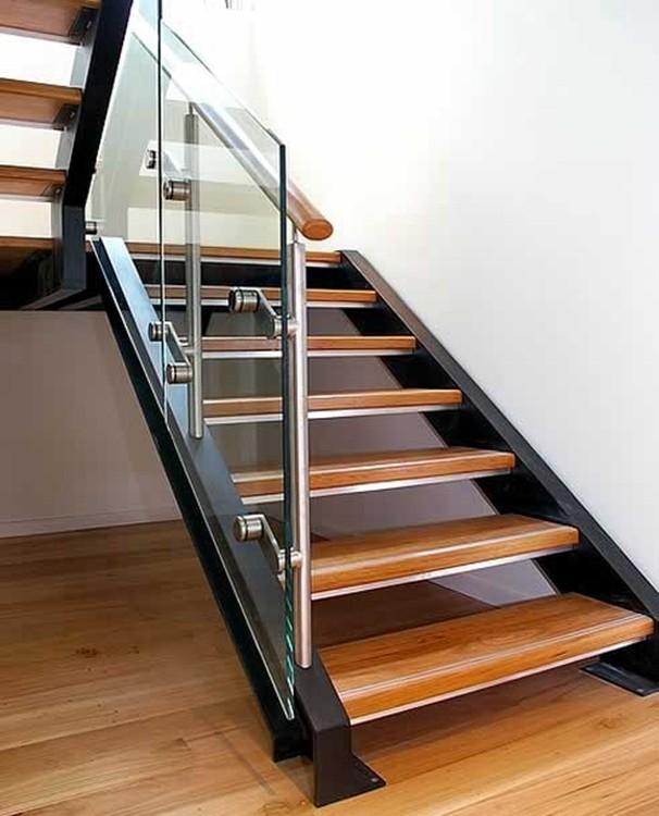 exterior metal glass railing stair / steel wood straight stairs ...