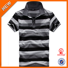 China striped OEM t-shirt mens casual fit polo t- shirt/custom men polo cotton t shirts with wholesale price