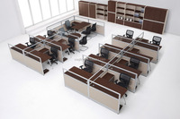 8 Seaters Aluminium Frame Office Partition Furniture for Staff Workstation