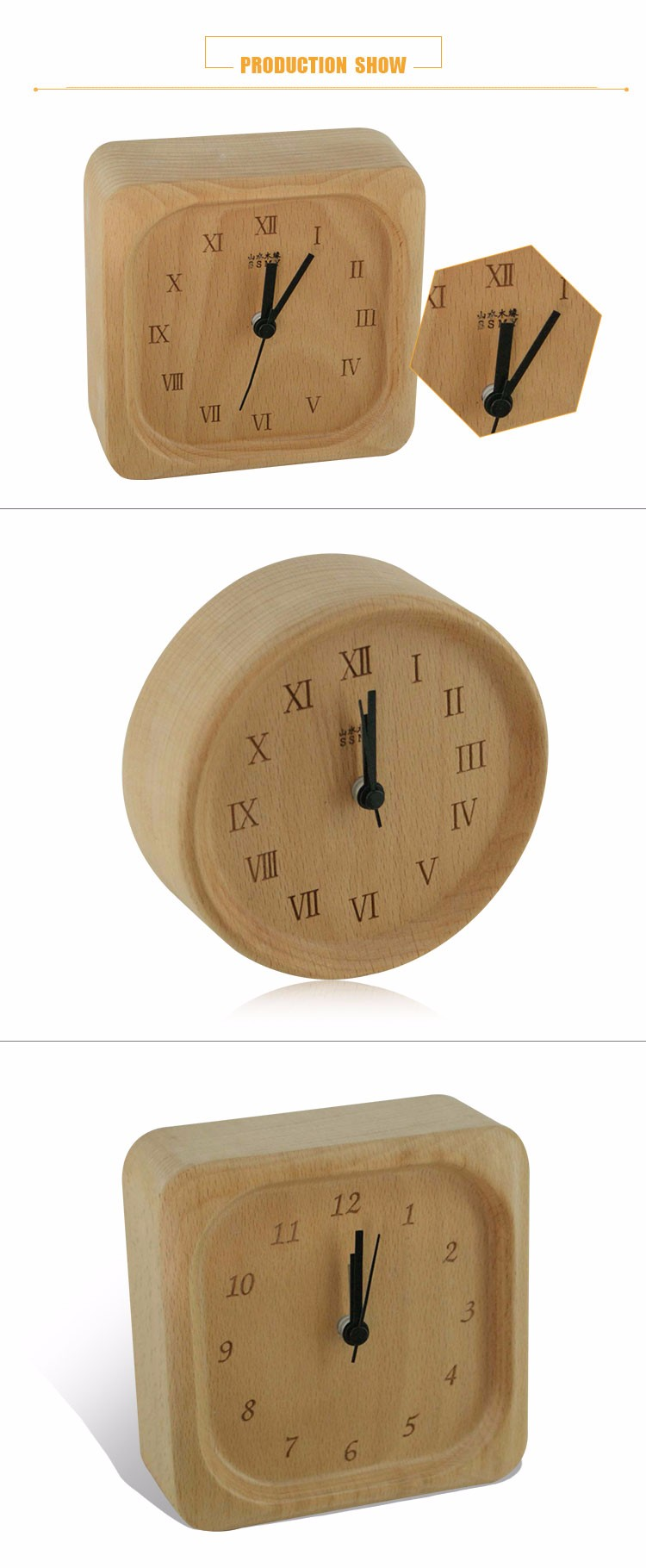 Solid wooden table alarm clock for promotion