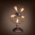 Warehouse table fan with lights