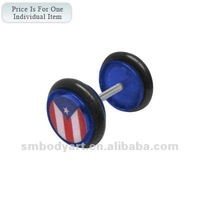 Blue Acrylic Puerto Rican Flag Logo Ear Plug Body Tunnel Piercing-SMFE103-B