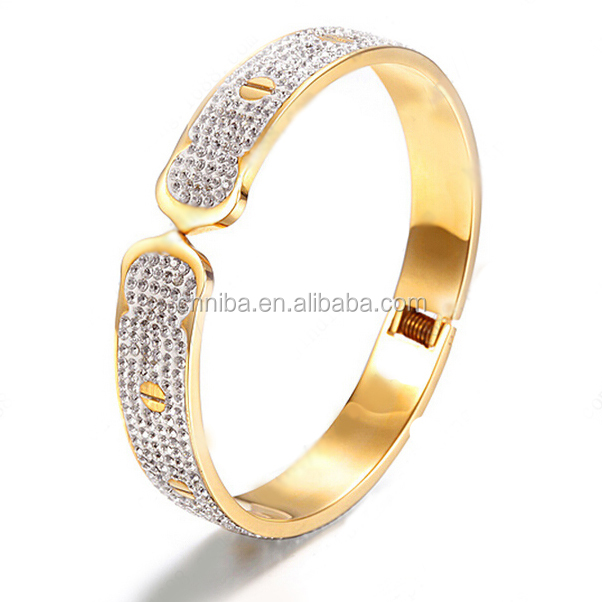 Women <strong>Accessories</strong>, Gold 316L Stainless Steel Fashion White Crystal Bracelet Bangles