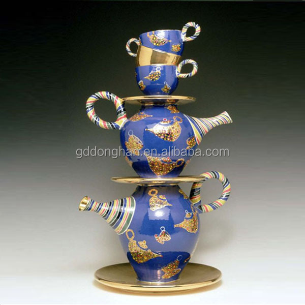 luxury decoration european tea set unique mouth tea pot porcelain cup