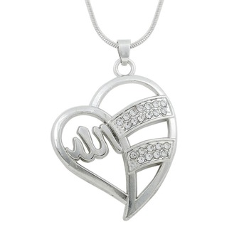 Zinc alloy jewelry silver heart crystal necklace