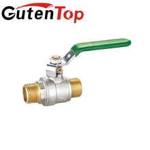 Guten top 1/2 inch long stem brass male thread nickle plated ball valves for green Lever handle