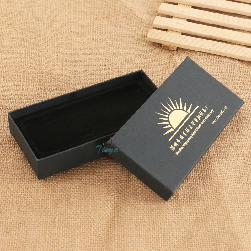 Black paper hot stamp gift ready made boxes