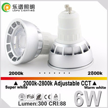 dim to warm gu10 6w cob led spotlight color temp changeable dimmable beautiful looking with factory price