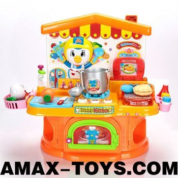 ht-75908067H children kitchen set Kids cartoon cupboard with all sorts of kitchenware