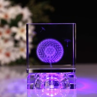 Decoration & Gifts Lighting Crystal Cube With LED Base